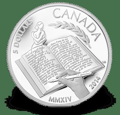 2014 - $5 3/4 oz. Fine Silver Coin - Alice Munro - Nobel Prize