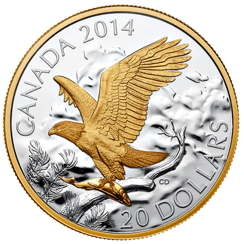 2014 - $20 1 oz. Fine Silver Coin - Gold Plating - Bald Eagle