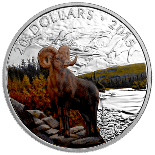 2015 - $20 1 oz. Fine Silver Coloured Coin - Bighorn Sheep