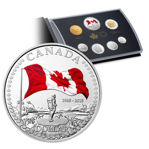 2015 - Fine Silver Coin Proof Set - 50th Anniversary of the Canadian Flag