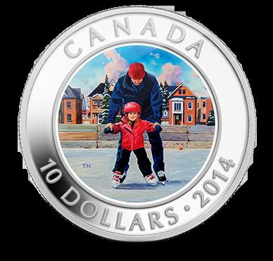 2014 - $10 1/2 oz. Fine Silver Coin - Skating in Canada