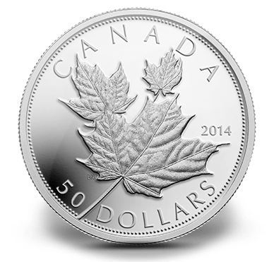 2014 - $50 5 oz. Fine Silver Coin - Maple Leaf and High Relief
