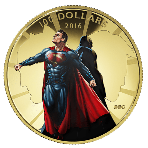 2016 - $100 14 Karat Gold Coin - Batman V Superman : Dawn of Justic