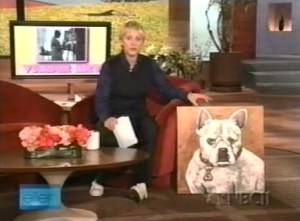 Ellen Degeneres with her French Bulldog Pig