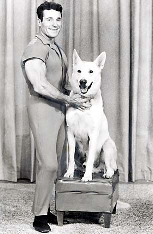 Jack LaLanne and his raw fed German Shepherd Dog, Happy