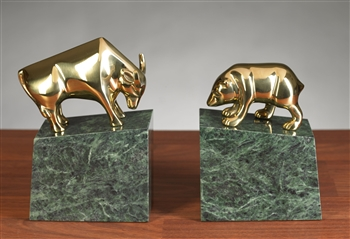 Stock Market Bull Bear Bookends Brass Bull And Bear Bookends
