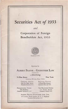 Securities Act of 1933 and Corporation of Foreign Bondholders Act