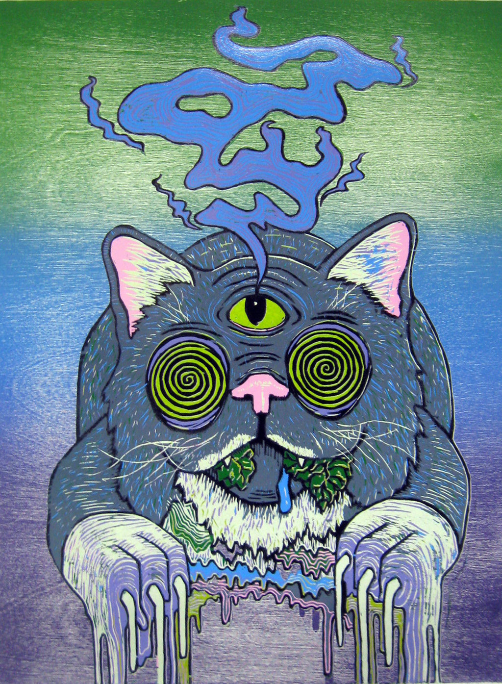 Iphone 6 Wallpaper Girl Tattoo Cat Katze Trippy Psychedelic Creepy Monster Kitty Augen