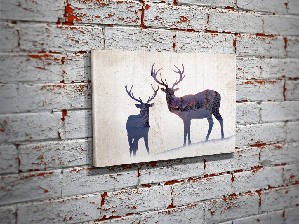 Deer Woods Canvas Double Exposure Wall Art Print  Bullzie