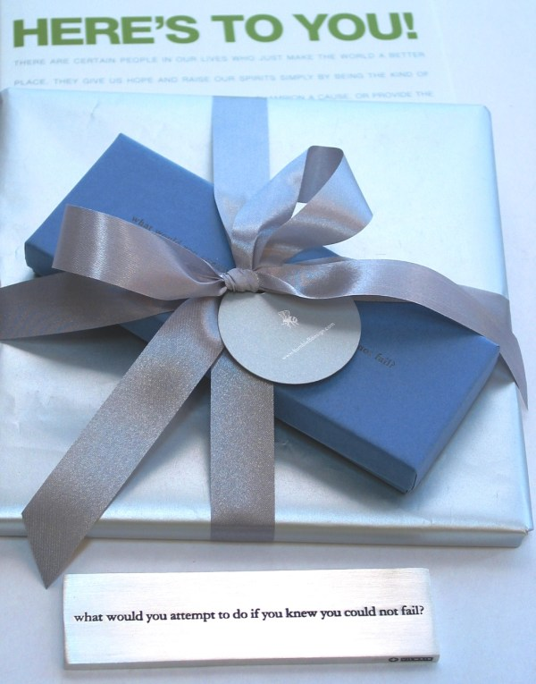 """bumbleBdesign - Here's To You Gift with Paperweight - """"What Would You Attempt.."""" gift-wrapped"""