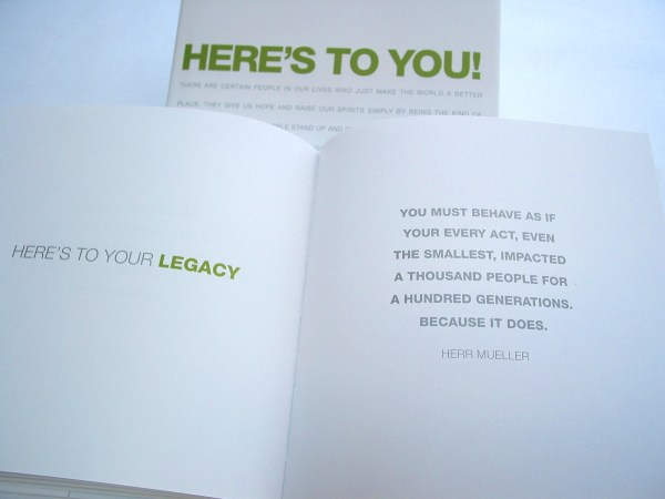 bumbleBdesign - Here's To You book - legacy quote, Administrative Professionals Gifts, Graduation Gifts, Seattle WA