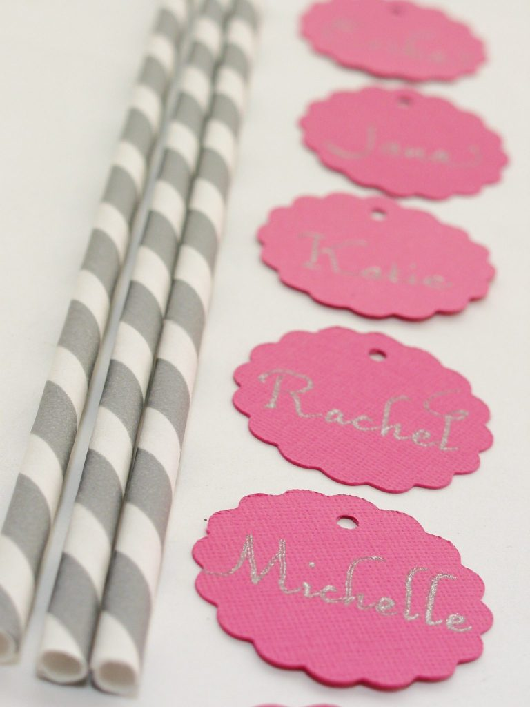 Bookhand calligraphy for drink tags