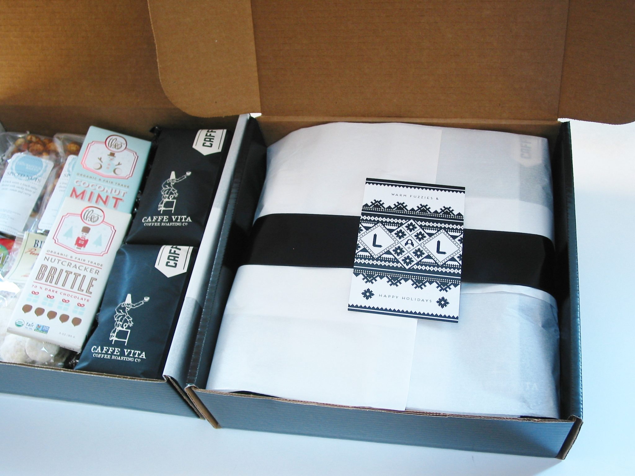 bumble B design's Custom Business Gift Boxes with Caffe Vita coffee, Theo chocolate & other local goodies