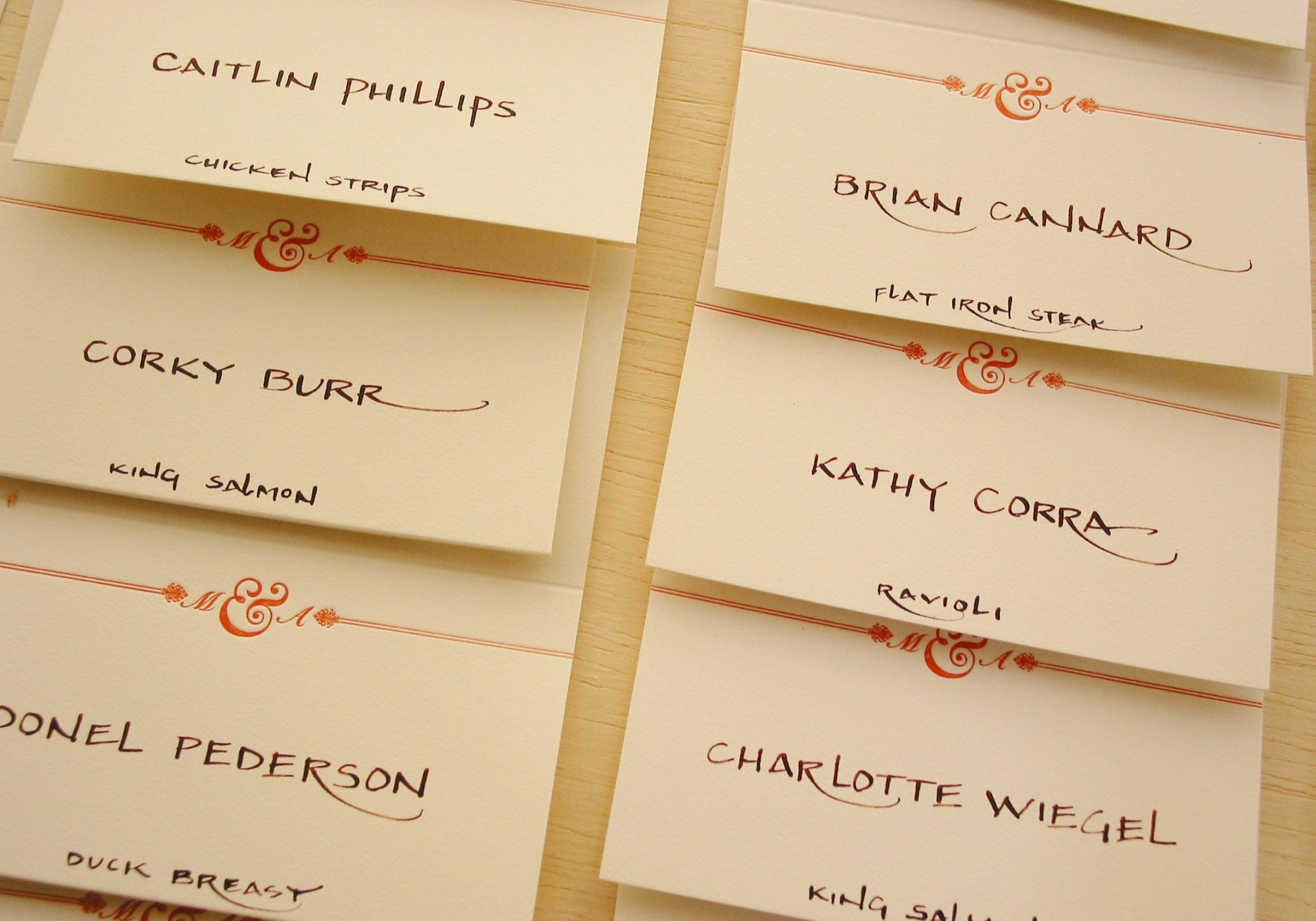 Block calligraphy for place cards