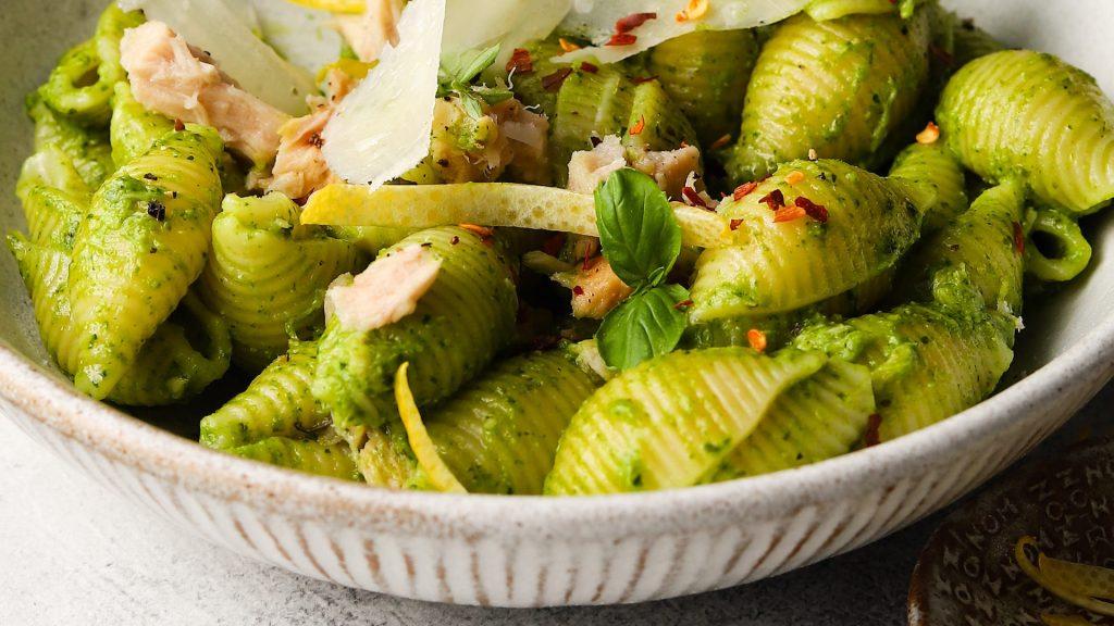 Mixed Herb Pesto Pasta with Albacore Tuna