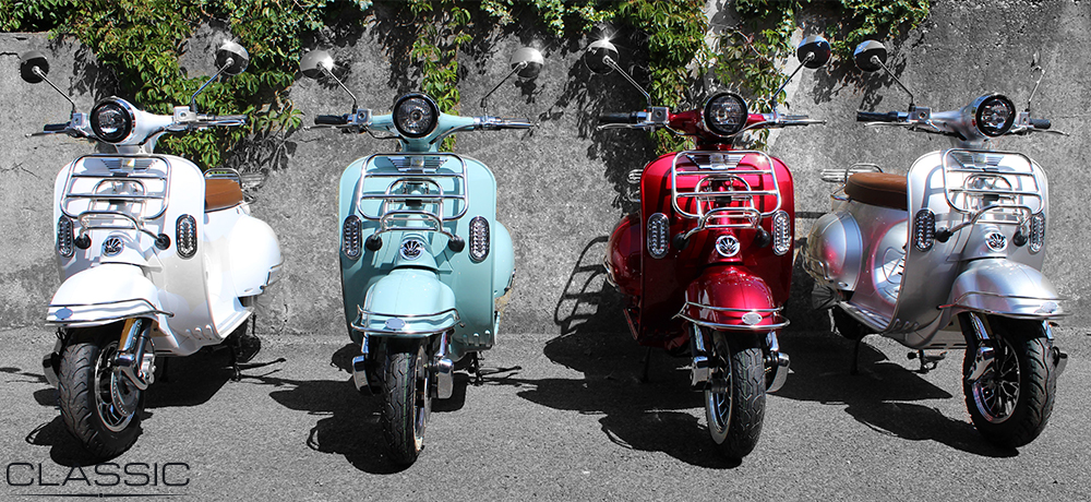 Classic Electric Moped colour range front