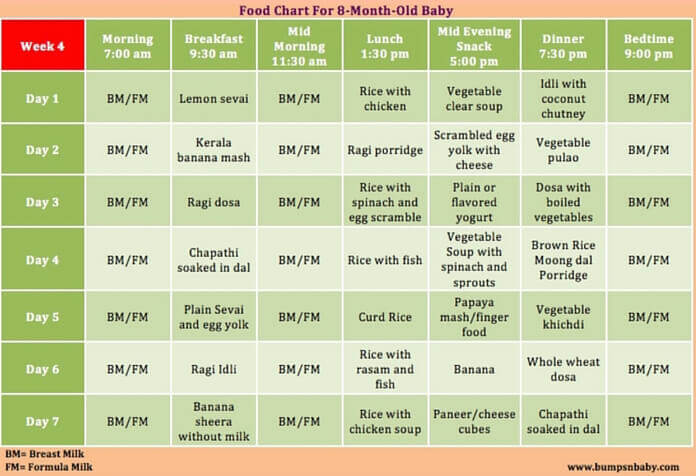 Month Old Baby Food Schedule