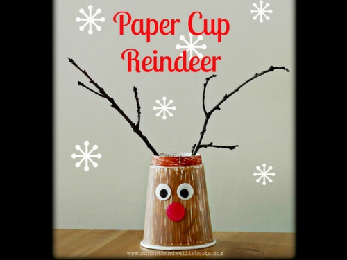 Christmas Crafts for kids paper cup reindeer