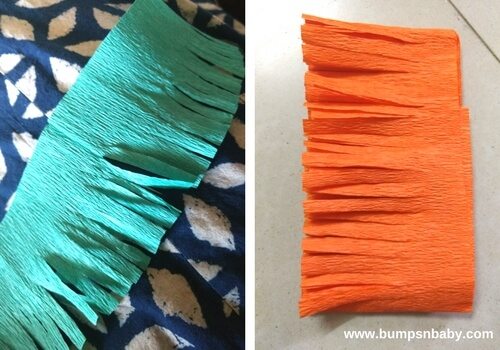 cut crepe paper strips