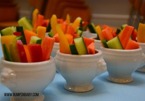 first birthday party menu vegetable sticks