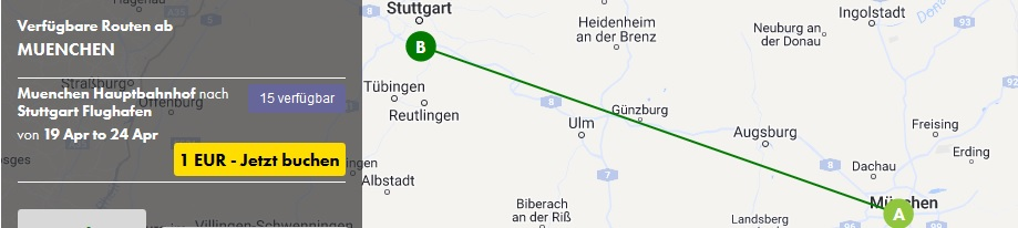 1 Auto 1 Tag 1 Euro | München – Stuttgart