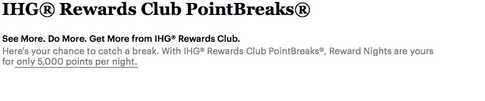 Reminder: IHG Rewards Club PointBreaks