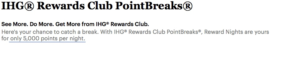 Reminder: IHG Rewards Club PointBreaks