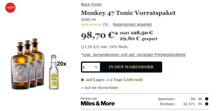 gourmondo miles and & more monkey 47 schwarzwald dry gin lufthansa