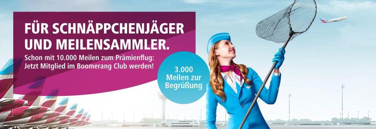 5500 Meilen gratis und topbonus Status Anerkennung bei Eurowings