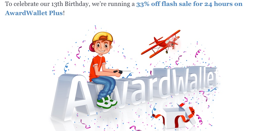 Awardwallet 13rd Birthday Flash Sale – 33% Rabatt