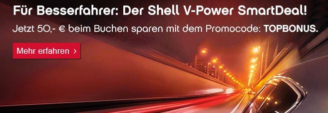 topbonus: 50 Euro Rabatt auf Shell V-Power SmartDeal!