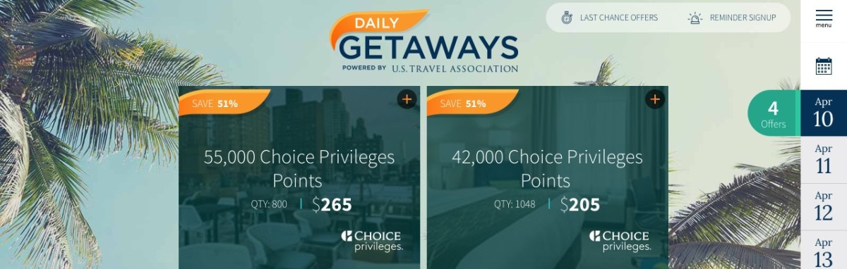 Daily Getaways 10.04.2018: Choice Privileges Punkte