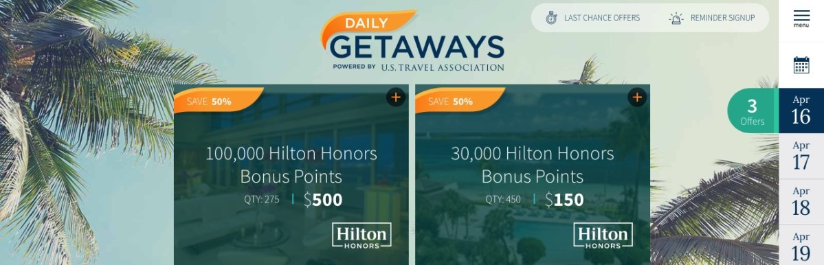 Daily Getaways 16.04.2018: Hilton Honors Punkte