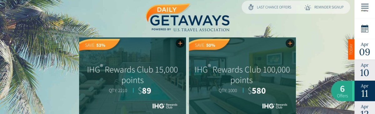 Daily Getaways 11.04.2018: IHG Rewards Club Punkte