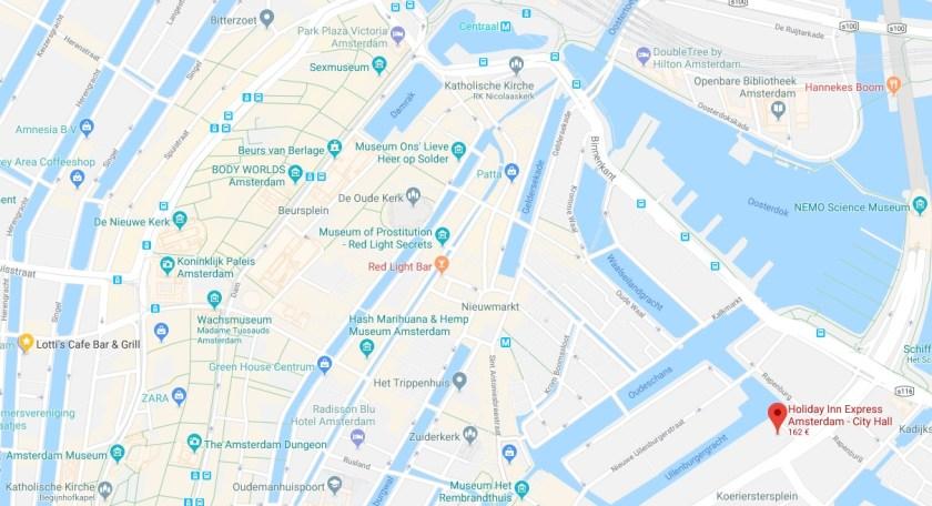 Holiday Inn Express Amsterdam - City Hall IHG Rewards Club Reward Nights HIX google maps karte