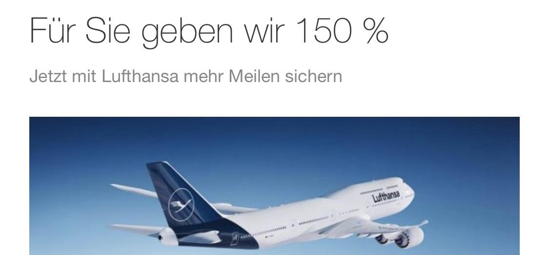 Erinnerung: Lufthansa Miles & More: 150 % Prämienmeilen