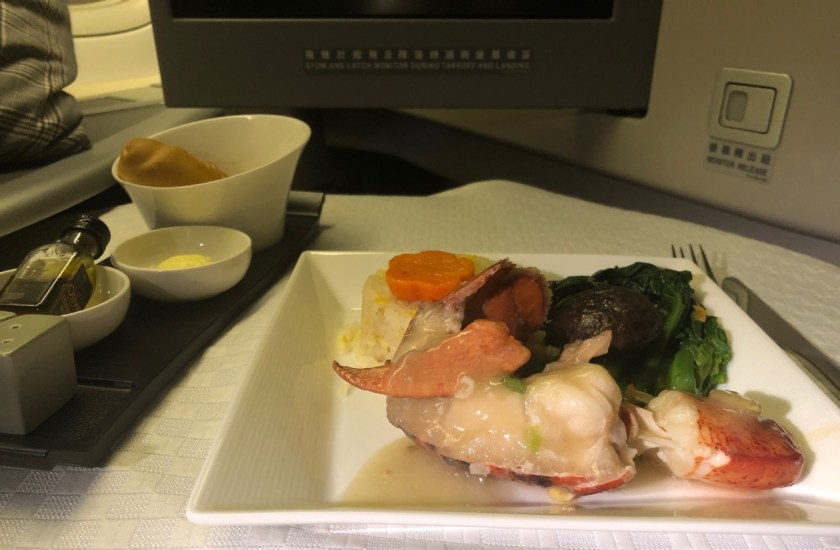 eva air royal laurel class business class b777 boeing 777 br011 lax tpe los angeles taipeh essen food hummer