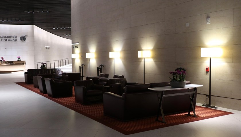 Review Qatar Al Safwa First Lounge doha doh airport flughafen qatar Lounge erfahrung qatar airways first class bewertung