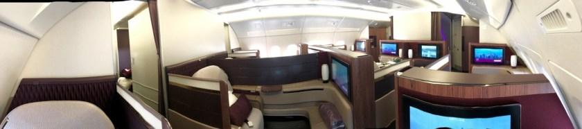 qatar airways first class airbus a380 doh doha fra frankfurt qr67 onboard bar kabine