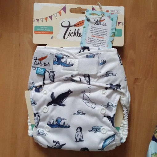 White nappy with blue polar animal print