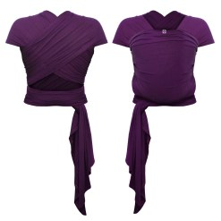 Front and rear photo of a purple stretchy wrap