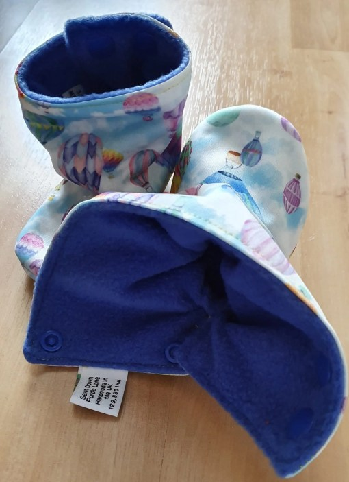 Inside of Pastel boots with hot air balloon design