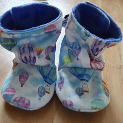 Pastel boots with hot air balloon design
