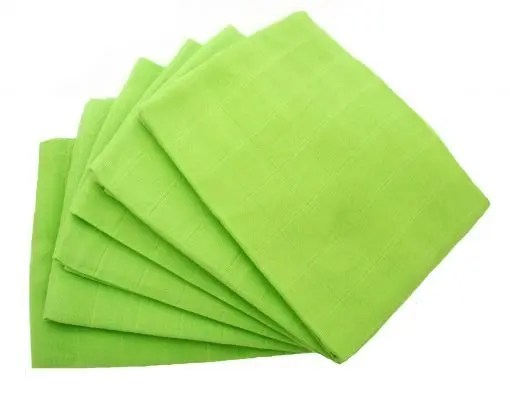 Green 6-pack plain muslin squares