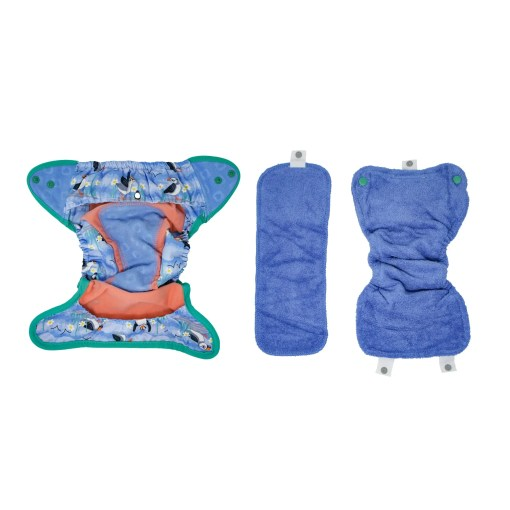 Inside of a Close Pop-in Puffin Popper Nappy showing blue booster and soaker