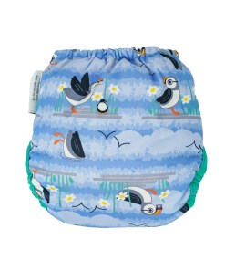 Rear of Close Pop-in Puffin Popper Nappy in blue with Puffin design