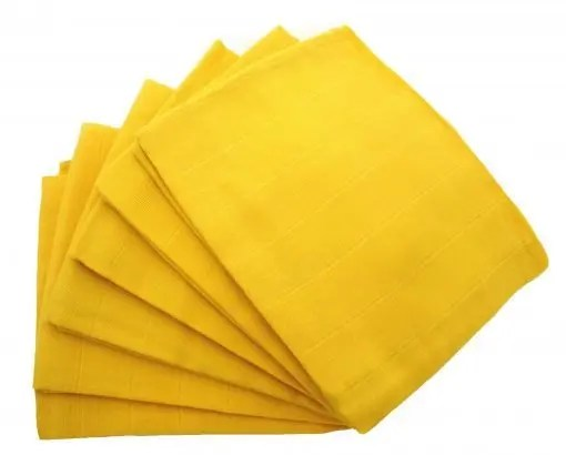 Yellow 6-pack plain muslin squares