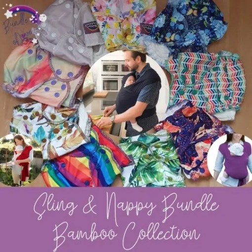 Bamboo nappies and stretchy wraps