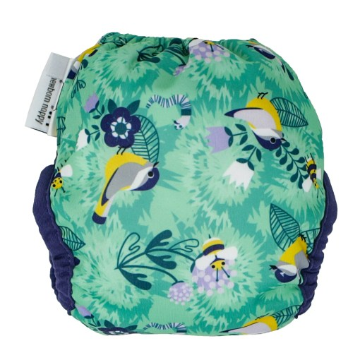 Green bird print nappy with navy trim - Close Pop-In Newborn Nappy - Round The Garden