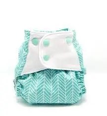 Blue-green herringbone pattern nappy
